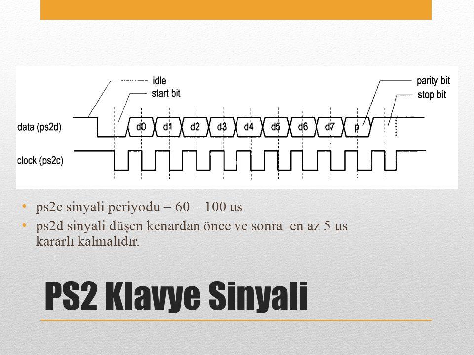PS2 Klavye Sinyali ps2c sinyali periyodu = 60 – 100 us ps2d sinyali düşen kenardan önce ve sonra en az 5 us kararlı kalmalıdır.