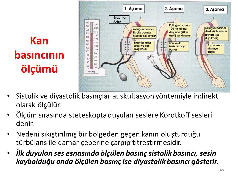 48 Kan basıncının ölçümü Sistolik ve diyastolik basınçlar auskultasyon yöntemiyle indirekt olarak ölçülür. Ölçüm sırasında steteskopta duyulan seslere