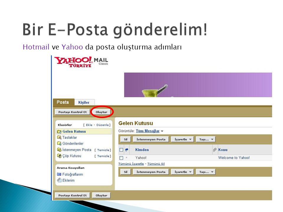 Hotmail ve Yahoo da posta oluşturma adımları