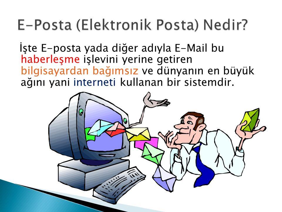 İşte E-posta yada diğer adıyla E-Mail bu haberleşme işlevini yerine getiren bilgisayardan bağımsız ve dünyanın en büyük ağını yani interneti kullanan