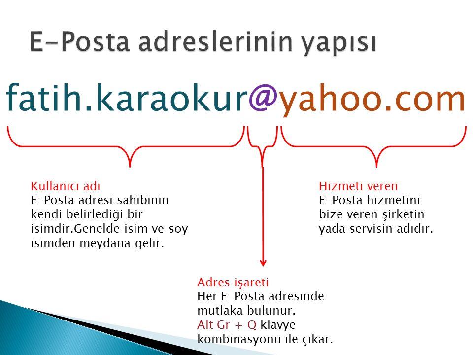 fatih.karaokur@yahoo.com Kullanıcı adı E-Posta adresi sahibinin kendi belirlediği bir isimdir.Genelde isim ve soy isimden meydana gelir. Adres işareti