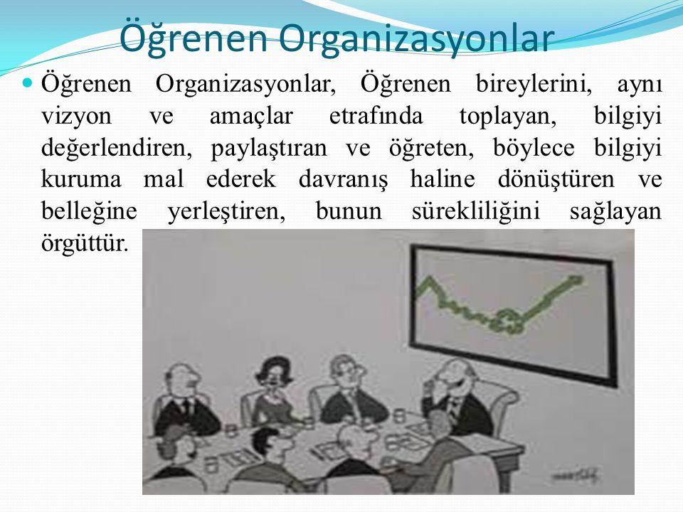 Öğrenen Organizasyonlar Bireylerin öğrenmesine ortam oluşturan, onların öğrenmesinden yararlanarak, bilgisini, anlayışını ve çevresini geliştiren bir organizasyondur.