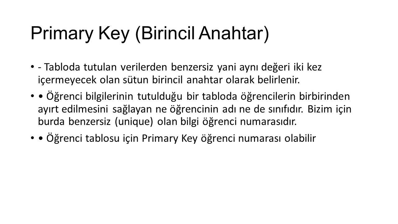 Primary Key (Birincil Anahtar) - Tabloda tutulan verilerden benzersiz yani aynı değeri iki kez içermeyecek olan sütun birincil anahtar olarak belirlen