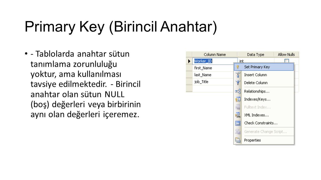 Primary Key (Birincil Anahtar) - Tablolarda anahtar sütun tanımlama zorunluluğu yoktur, ama kullanılması tavsiye edilmektedir. - Birincil anahtar olan