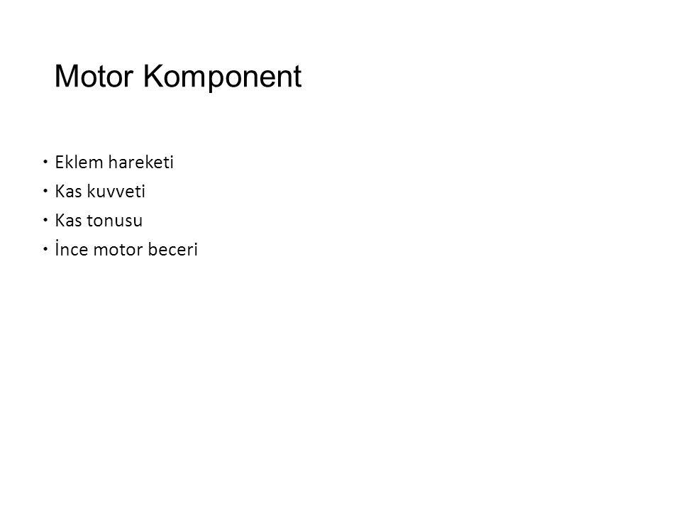 Motor Komponent  Eklem hareketi  Kas kuvveti  Kas tonusu  İnce motor beceri