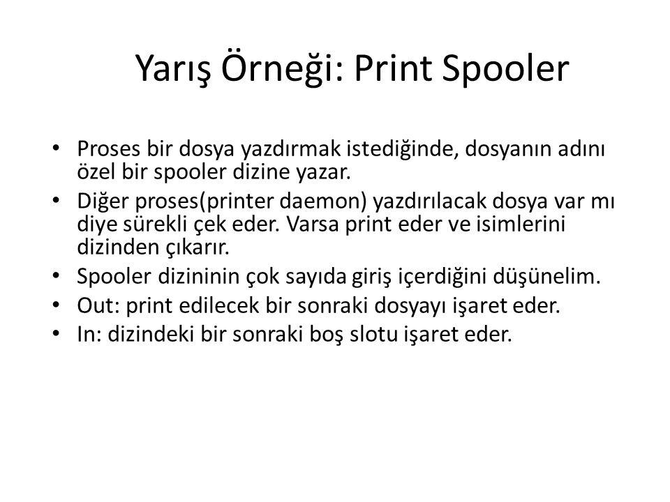 Yarış Örneği: Print Spooler Proses bir dosya yazdırmak istediğinde, dosyanın adını özel bir spooler dizine yazar. Diğer proses(printer daemon) yazdırı