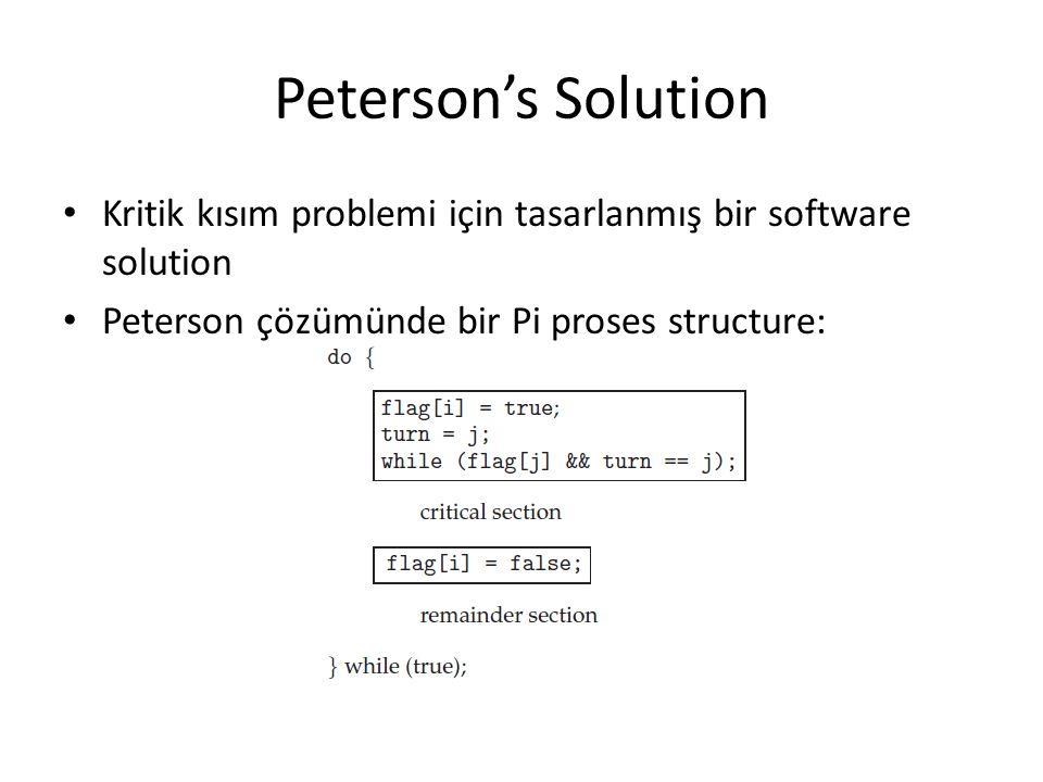 Peterson's Solution Kritik kısım problemi için tasarlanmış bir software solution Peterson çözümünde bir Pi proses structure: