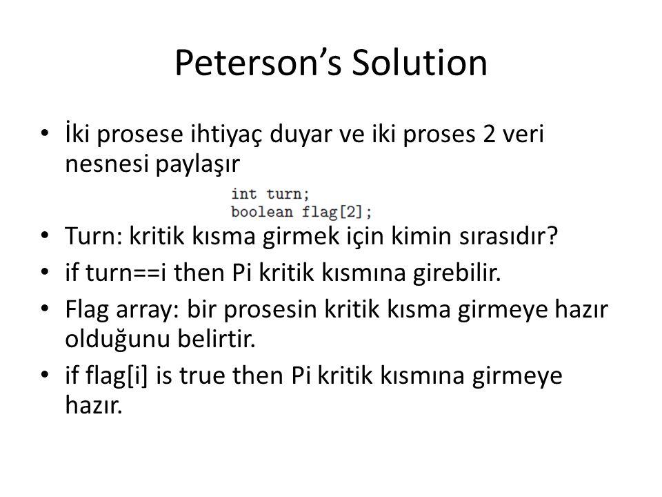 Peterson's Solution İki prosese ihtiyaç duyar ve iki proses 2 veri nesnesi paylaşır Turn: kritik kısma girmek için kimin sırasıdır? if turn==i then Pi