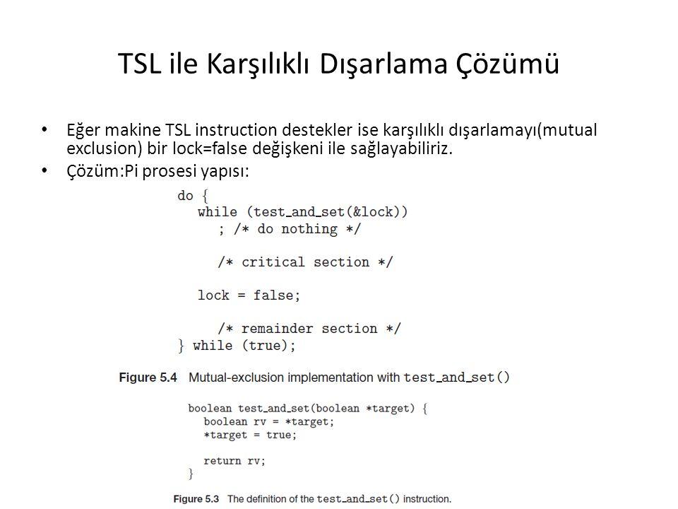 TSL ile Karşılıklı Dışarlama Çözümü Eğer makine TSL instruction destekler ise karşılıklı dışarlamayı(mutual exclusion) bir lock=false değişkeni ile sa