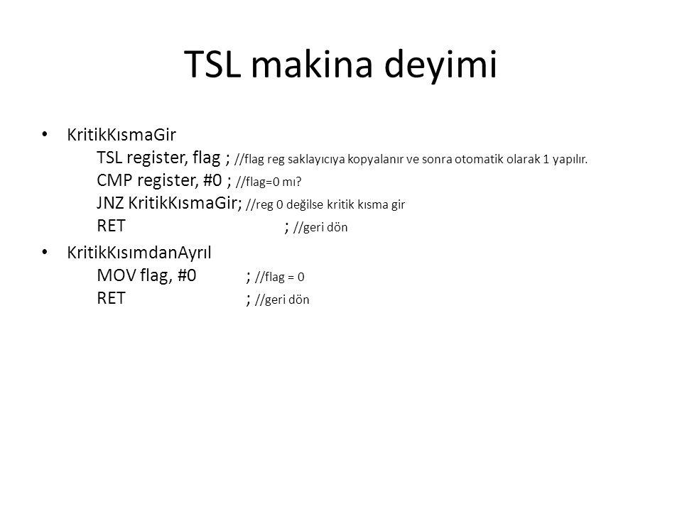 TSL makina deyimi KritikKısmaGir TSL register, flag ; //flag reg saklayıcıya kopyalanır ve sonra otomatik olarak 1 yapılır. CMP register, #0 ; //flag=