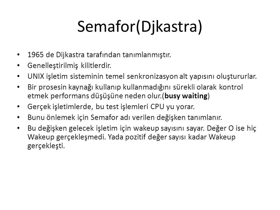 Semafor(Djkastra) 1965 de Dijkastra tarafından tanımlanmıştır. Genelleştirilmiş kilitlerdir. UNIX işletim sisteminin temel senkronizasyon alt yapısını