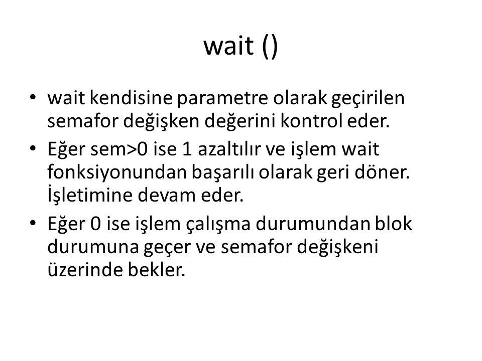 wait () wait kendisine parametre olarak geçirilen semafor değişken değerini kontrol eder. Eğer sem>0 ise 1 azaltılır ve işlem wait fonksiyonundan başa