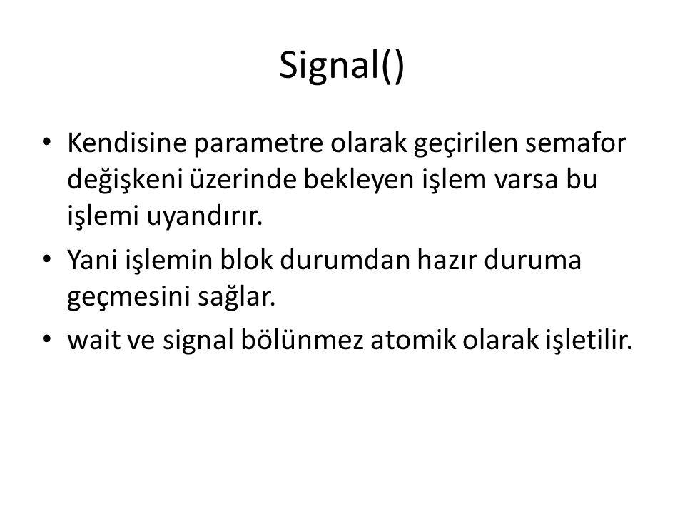 Signal() Kendisine parametre olarak geçirilen semafor değişkeni üzerinde bekleyen işlem varsa bu işlemi uyandırır. Yani işlemin blok durumdan hazır du