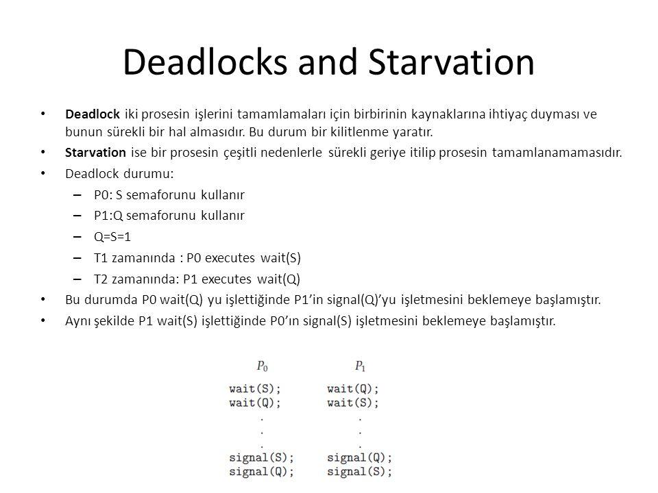 Deadlocks and Starvation Deadlock iki prosesin işlerini tamamlamaları için birbirinin kaynaklarına ihtiyaç duyması ve bunun sürekli bir hal almasıdır.