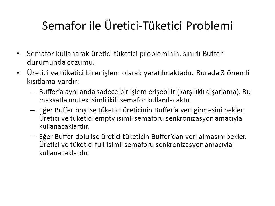 Semafor ile Üretici-Tüketici Problemi Semafor kullanarak üretici tüketici probleminin, sınırlı Buffer durumunda çözümü. Üretici ve tüketici birer işle