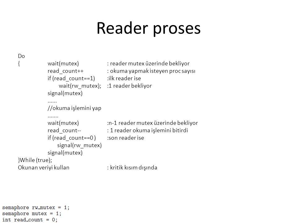 Reader proses Do {wait(mutex): reader mutex üzerinde bekliyor read_count++: okuma yapmak isteyen proc sayısı if (read_count==1) :ilk reader ise wait(r
