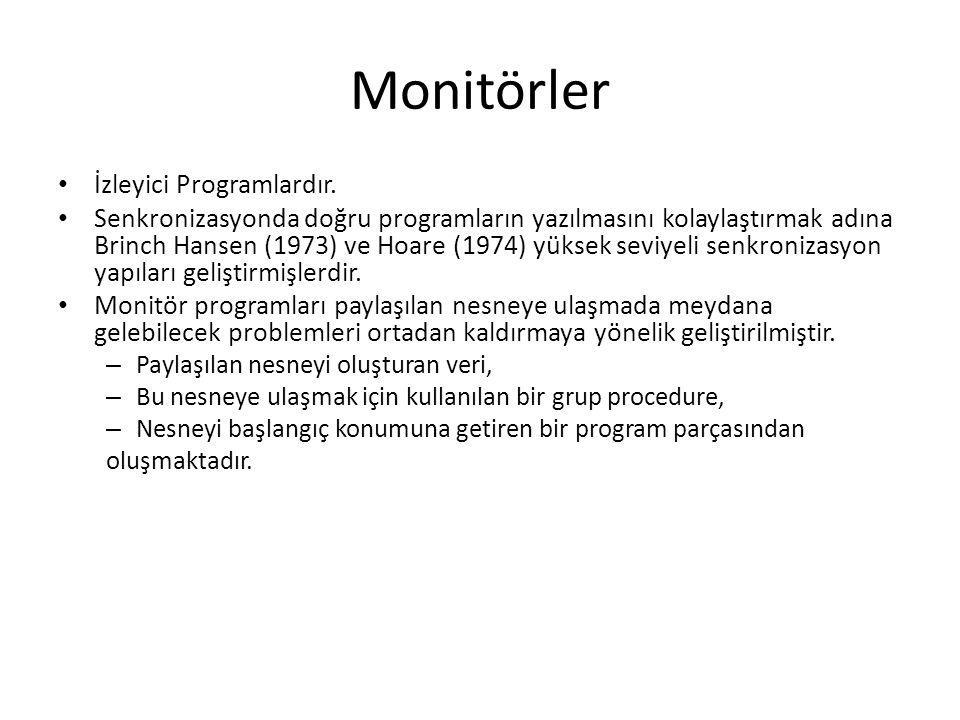 Monitörler İzleyici Programlardır. Senkronizasyonda doğru programların yazılmasını kolaylaştırmak adına Brinch Hansen (1973) ve Hoare (1974) yüksek se