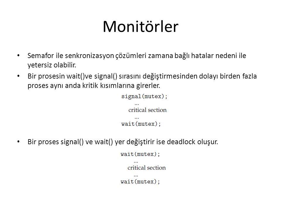 Monitörler Semafor ile senkronizasyon çözümleri zamana bağlı hatalar nedeni ile yetersiz olabilir. Bir prosesin wait()ve signal() sırasını değiştirmes