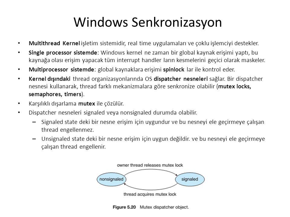 Windows Senkronizasyon Multithread Kernel işletim sistemidir, real time uygulamaları ve çoklu işlemciyi destekler. Single processor sistemde: Windows