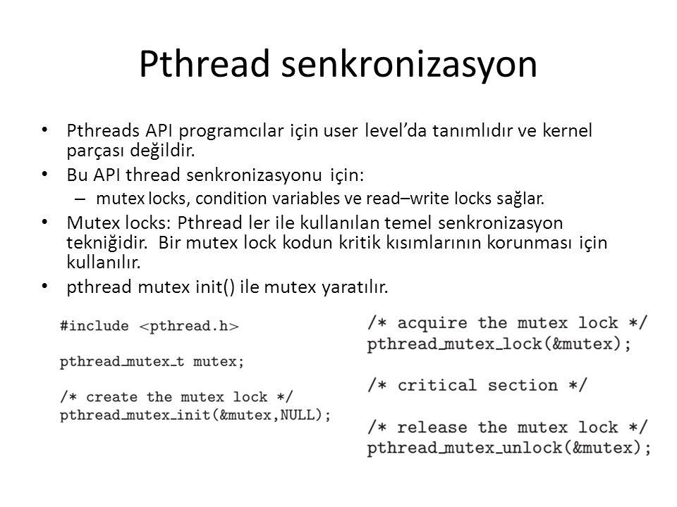 Pthread senkronizasyon Pthreads API programcılar için user level'da tanımlıdır ve kernel parçası değildir. Bu API thread senkronizasyonu için: – mutex