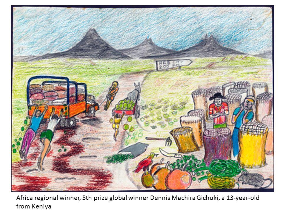 Africa regional winner, 5th prize global winner Dennis Machira Gichuki, a 13-year-old from Keniya