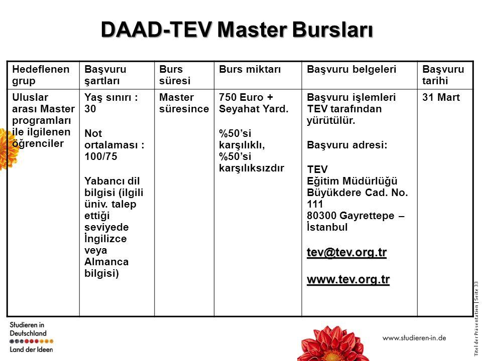 Titel der Präsentation   Seite 33 DAAD-TEV Master Bursları Hedeflenen grup Başvuru şartları Burs süresi Burs miktarıBaşvuru belgeleriBaşvuru tarihi Uluslar arası Master programları ile ilgilenen öğrenciler Yaş sınırı : 30 Not ortalaması : 100/75 Yabancı dil bilgisi (ilgili üniv.