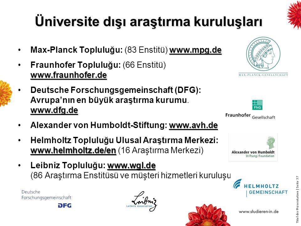 Titel der Präsentation   Seite 37 www.mpg.deMax-Planck Topluluğu: (83 Enstitü) www.mpg.de www.fraunhofer.deFraunhofer Topluluğu: (66 Enstitü) www.fraunhofer.de www.dfg.deDeutsche Forschungsgemeinschaft (DFG): Avrupa'nın en büyük araştırma kurumu.