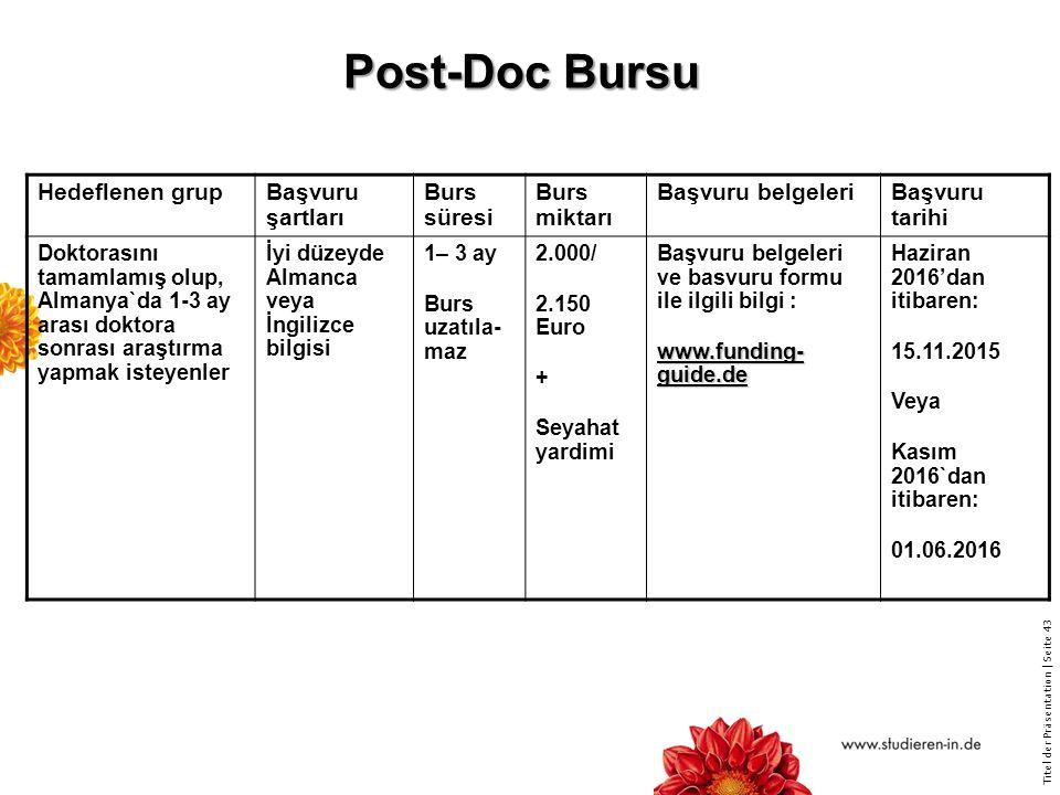 Titel der Präsentation   Seite 43 Post-Doc Bursu Hedeflenen grupBaşvuru şartları Burs süresi Burs miktarı Başvuru belgeleriBaşvuru tarihi Doktorasını tamamlamış olup, Almanya`da 1-3 ay arası doktora sonrası araştırma yapmak isteyenler İyi düzeyde Almanca veya İngilizce bilgisi 1– 3 ay Burs uzatıla- maz 2.000/ 2.150 Euro + Seyahat yardimi Başvuru belgeleri ve basvuru formu ile ilgili bilgi : www.funding- guide.de Haziran 2016'dan itibaren: 15.11.2015 Veya Kasım 2016`dan itibaren: 01.06.2016