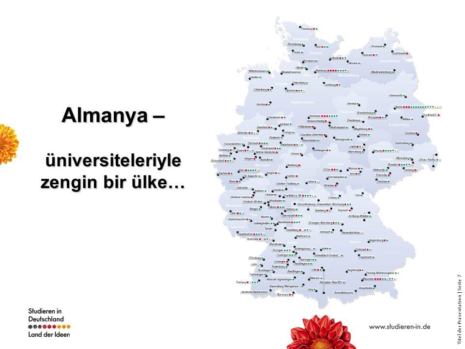 Titel der Präsentation | Seite 38 www.research-in-germany.de Almanya'nın araştırma portali Yenilikçiliğin ve Araştırmanın Teşviki girişiminin merkezi bilgilendirme platformu Araştırmalar ülkesi olarak Almanya'nın tanıtım portali Sunulan bilgiler yararlı linklerle tamamlanmıştır (örneğin 250'den fazla yorumlu linkler içeren kapsamlı bir web kataloğu mevcuttur) Almanya'daki araştırmalar konusunda bilgiler içeren Online- Newsletter