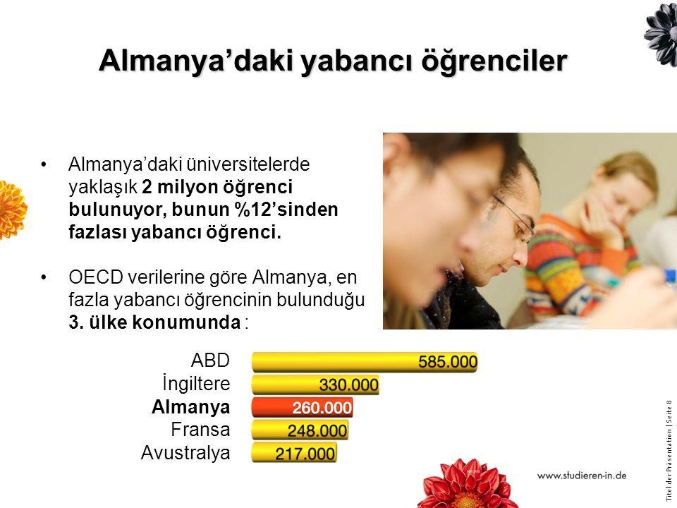 Titel der Präsentation | Seite 29 DAAD-Bursiyerlerinin Türkiye'de desteklenmesi - 2014 Bilim adamı Öğretim görevlisi (Doktora sonrası dahil) Öğrenci Mezun (Doktora öğrencileri dahil) Türkiye'ye gelen AlmanlarAlmanya'ya giden Türkler 82 411 142 532 Toplam proje ve bireysel destekler Temmuz 2015