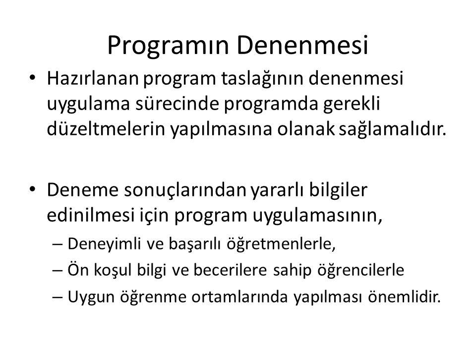 Programın Denenmesi Geliştirilen bir programın uygulanması değişik aşamalardan gelişerek gerçekleşir.