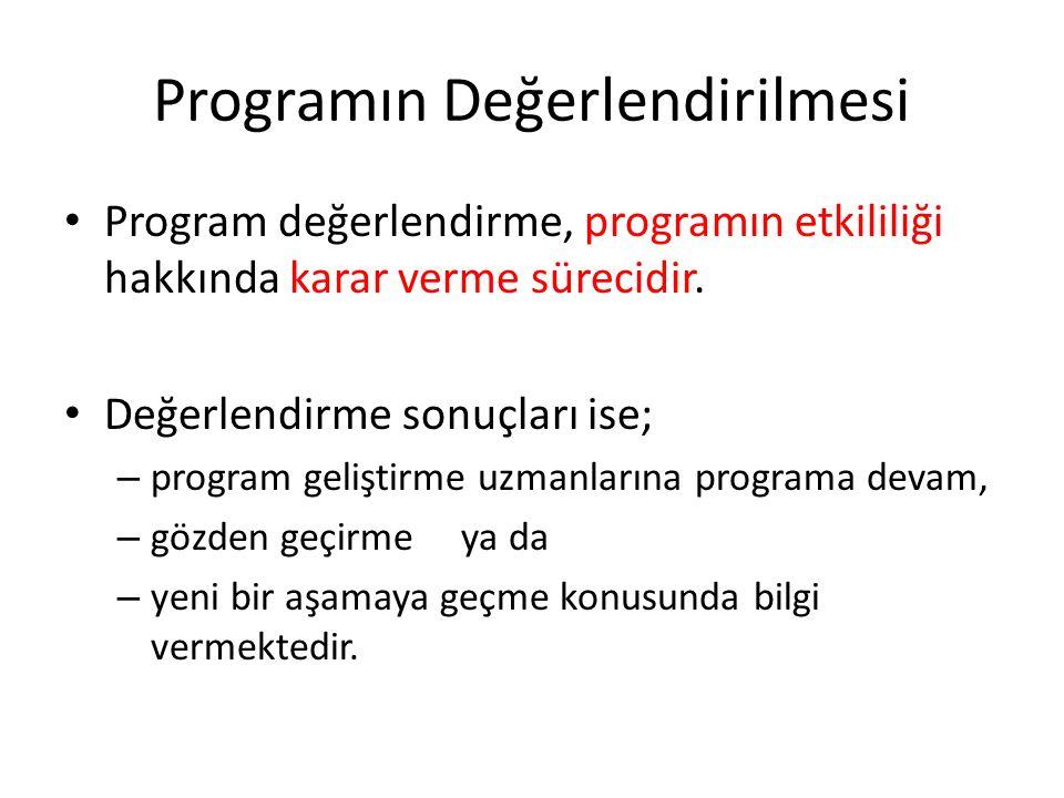 Programın Değerlendirilmesi Program değerlendirme, programın etkililiği hakkında karar verme sürecidir. Değerlendirme sonuçları ise; – program gelişti