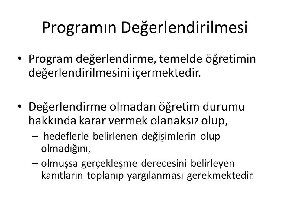 Programın Değerlendirilmesi Program değerlendirme, temelde öğretimin değerlendirilmesini içermektedir. Değerlendirme olmadan öğretim durumu hakkında k