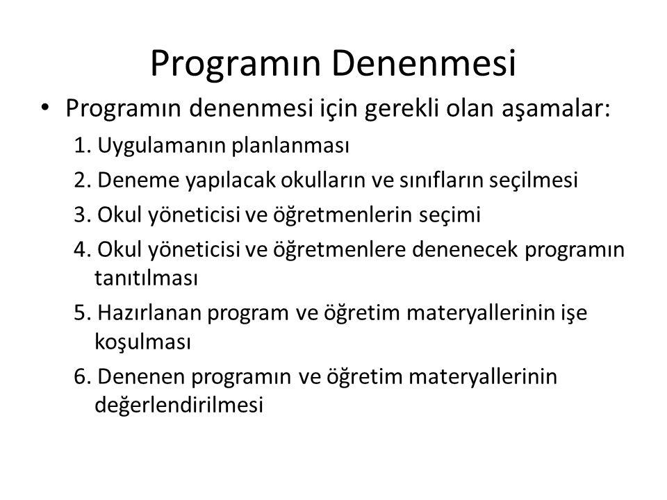 Programın Denenmesi Programın denenmesi için gerekli olan aşamalar: 1. Uygulamanın planlanması 2. Deneme yapılacak okulların ve sınıfların seçilmesi 3