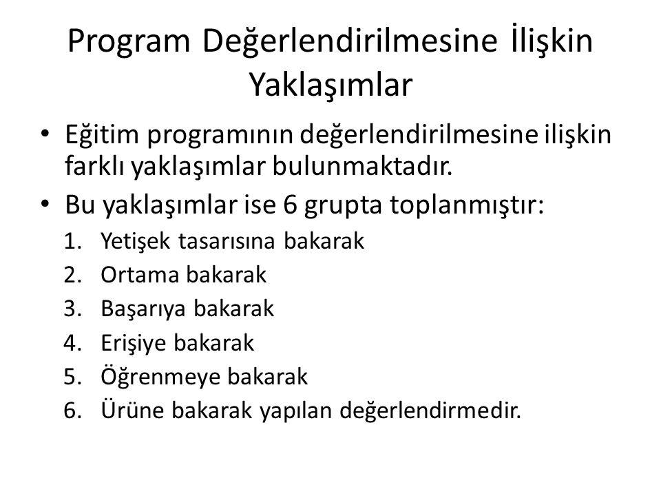 Program Değerlendirilmesine İlişkin Yaklaşımlar Eğitim programının değerlendirilmesine ilişkin farklı yaklaşımlar bulunmaktadır. Bu yaklaşımlar ise 6