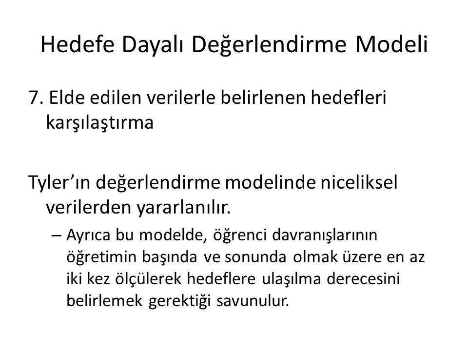 Hedefe Dayalı Değerlendirme Modeli 7. Elde edilen verilerle belirlenen hedefleri karşılaştırma Tyler'ın değerlendirme modelinde niceliksel verilerden