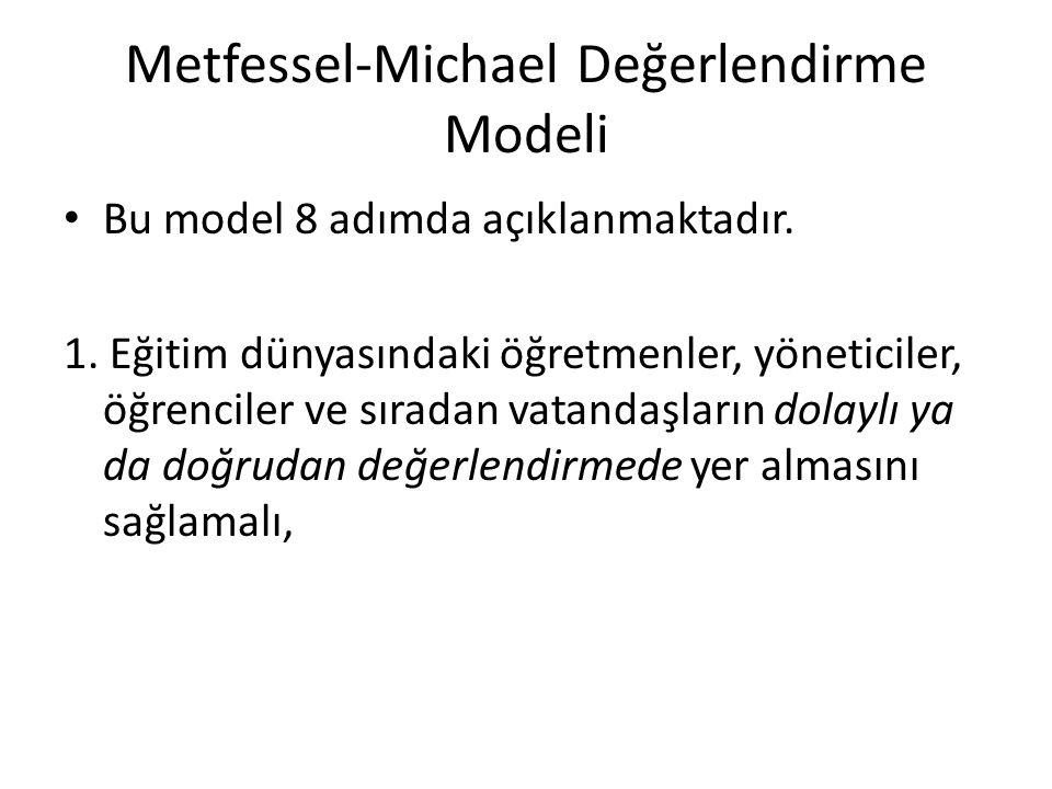Metfessel-Michael Değerlendirme Modeli Bu model 8 adımda açıklanmaktadır. 1. Eğitim dünyasındaki öğretmenler, yöneticiler, öğrenciler ve sıradan vatan