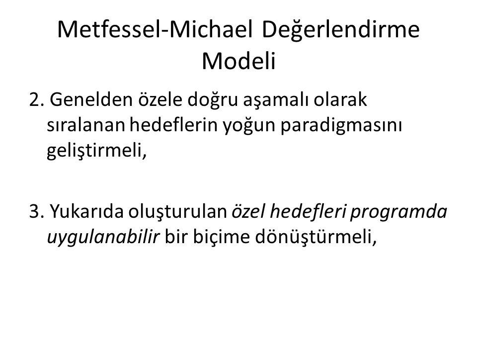 Metfessel-Michael Değerlendirme Modeli 2. Genelden özele doğru aşamalı olarak sıralanan hedeflerin yoğun paradigmasını geliştirmeli, 3. Yukarıda oluşt
