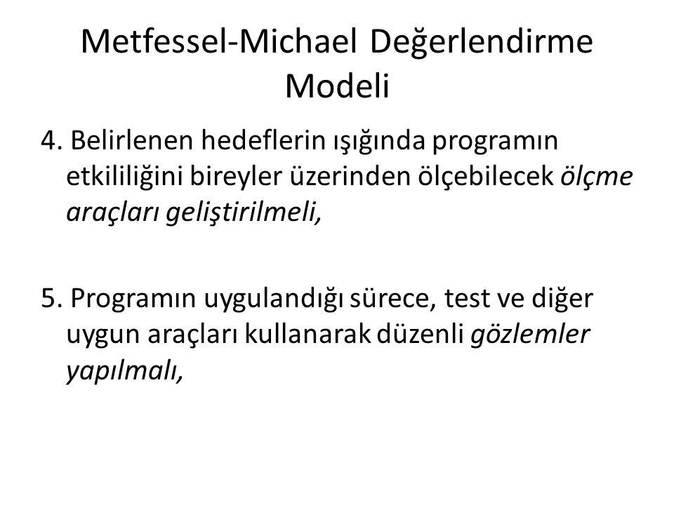 Metfessel-Michael Değerlendirme Modeli 4. Belirlenen hedeflerin ışığında programın etkililiğini bireyler üzerinden ölçebilecek ölçme araçları geliştir