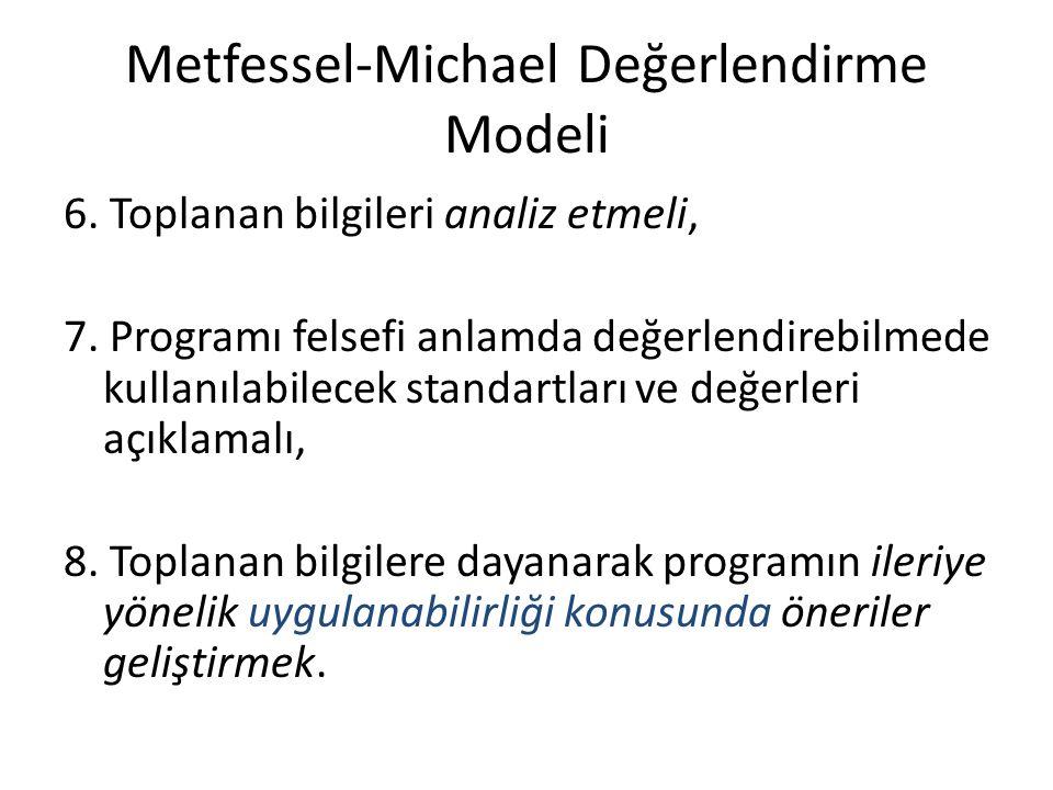 Metfessel-Michael Değerlendirme Modeli 6. Toplanan bilgileri analiz etmeli, 7. Programı felsefi anlamda değerlendirebilmede kullanılabilecek standartl