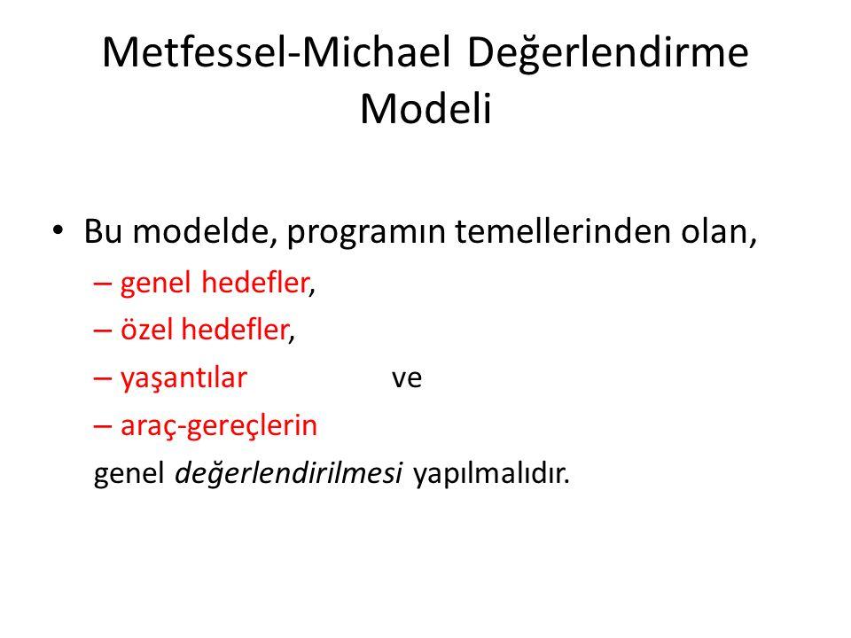 Metfessel-Michael Değerlendirme Modeli Bu modelde, programın temellerinden olan, – genel hedefler, – özel hedefler, – yaşantılar ve – araç-gereçlerin