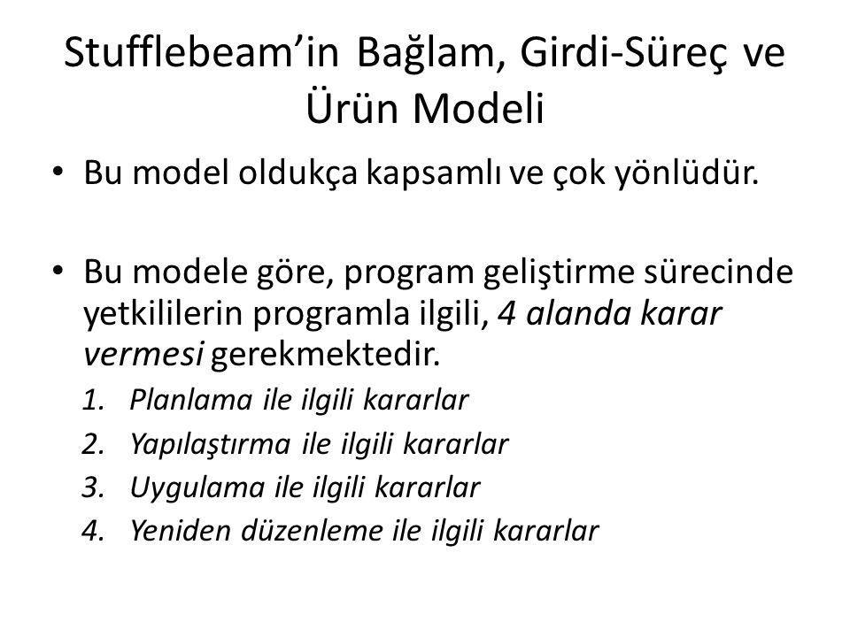 Stufflebeam'in Bağlam, Girdi-Süreç ve Ürün Modeli Bu model oldukça kapsamlı ve çok yönlüdür. Bu modele göre, program geliştirme sürecinde yetkililerin