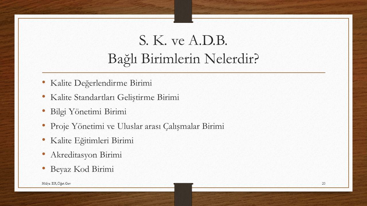 S. K. ve A.D.B. Bağlı Birimlerin Nelerdir? Kalite Değerlendirme Birimi Kalite Standartları Geliştirme Birimi Bilgi Yönetimi Birimi Proje Yönetimi ve U
