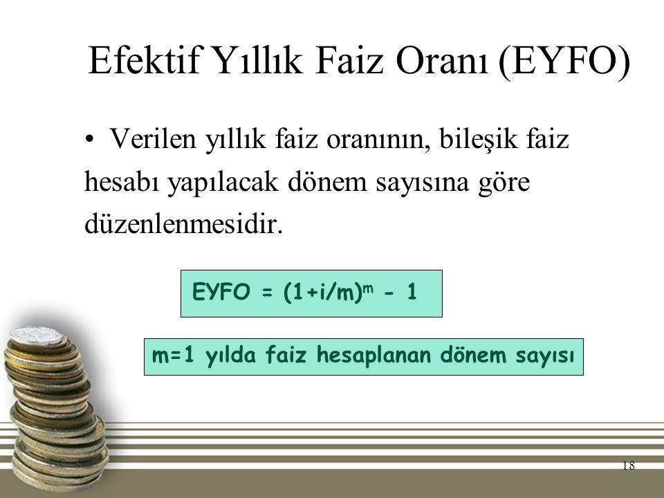 18 Efektif Yıllık Faiz Oranı (EYFO) Verilen yıllık faiz oranının, bileşik faiz hesabı yapılacak dönem sayısına göre düzenlenmesidir. EYFO = (1+i/m) m