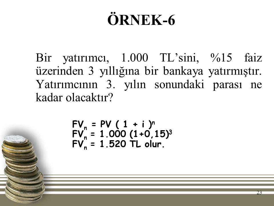 23 ÖRNEK-6 Bir yatırımcı, 1.000 TL'sini, %15 faiz üzerinden 3 yıllığına bir bankaya yatırmıştır. Yatırımcının 3. yılın sonundaki parası ne kadar olaca