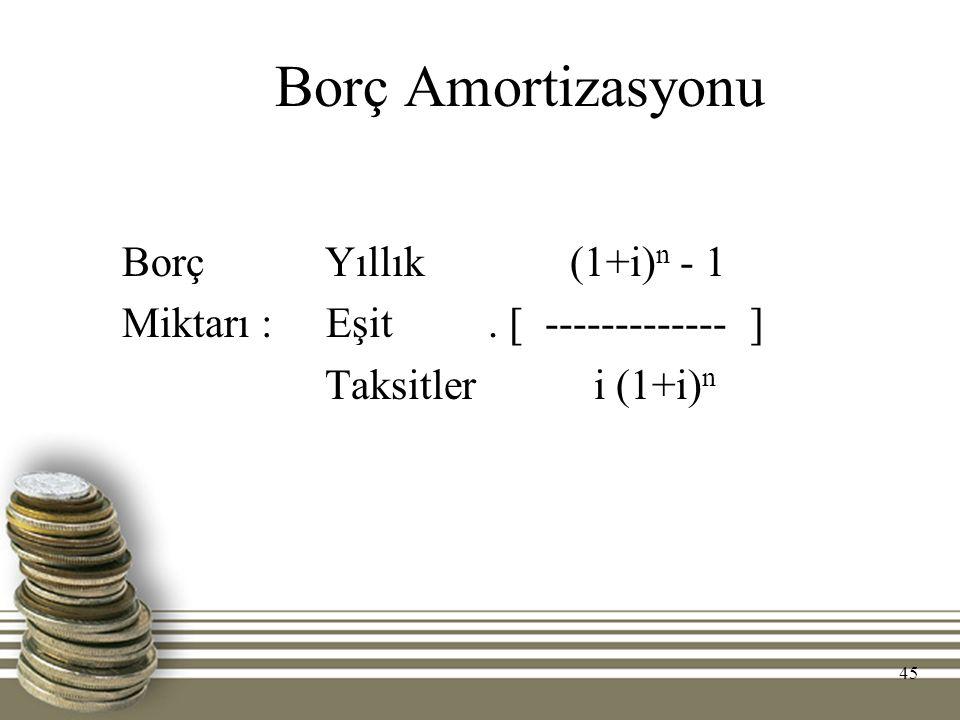 Borç Amortizasyonu Borç Yıllık (1+i) n - 1 Miktarı : Eşit. [ ------------- ] Taksitler i (1+i) n 45