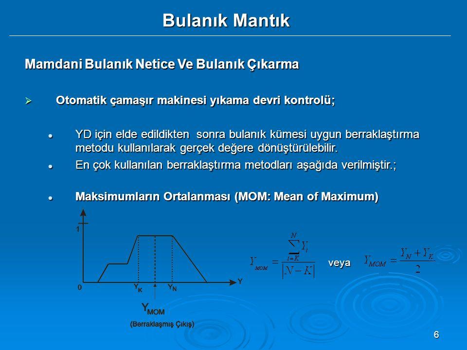 7 Bulanık Mantık Mamdani Bulanık Netice Ve Bulanık Çıkarma  Otomatik çamaşır makinesi yıkama devri kontrolü; Maksimumların En Büyüğü Maksimumların En Büyüğü (Largest of Maximum:LOM); Maksimumların En Küçüğü Maksimumların En Küçüğü (Smallest of Maximum:SOM);