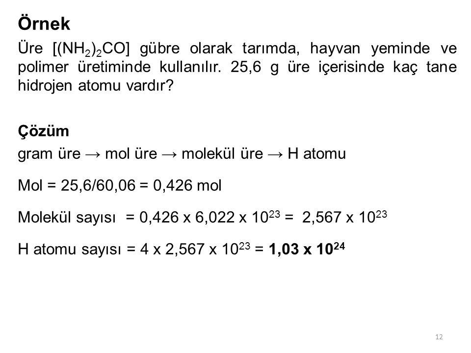 Örnek Üre [(NH 2 ) 2 CO] gübre olarak tarımda, hayvan yeminde ve polimer üretiminde kullanılır. 25,6 g üre içerisinde kaç tane hidrojen atomu vardır?