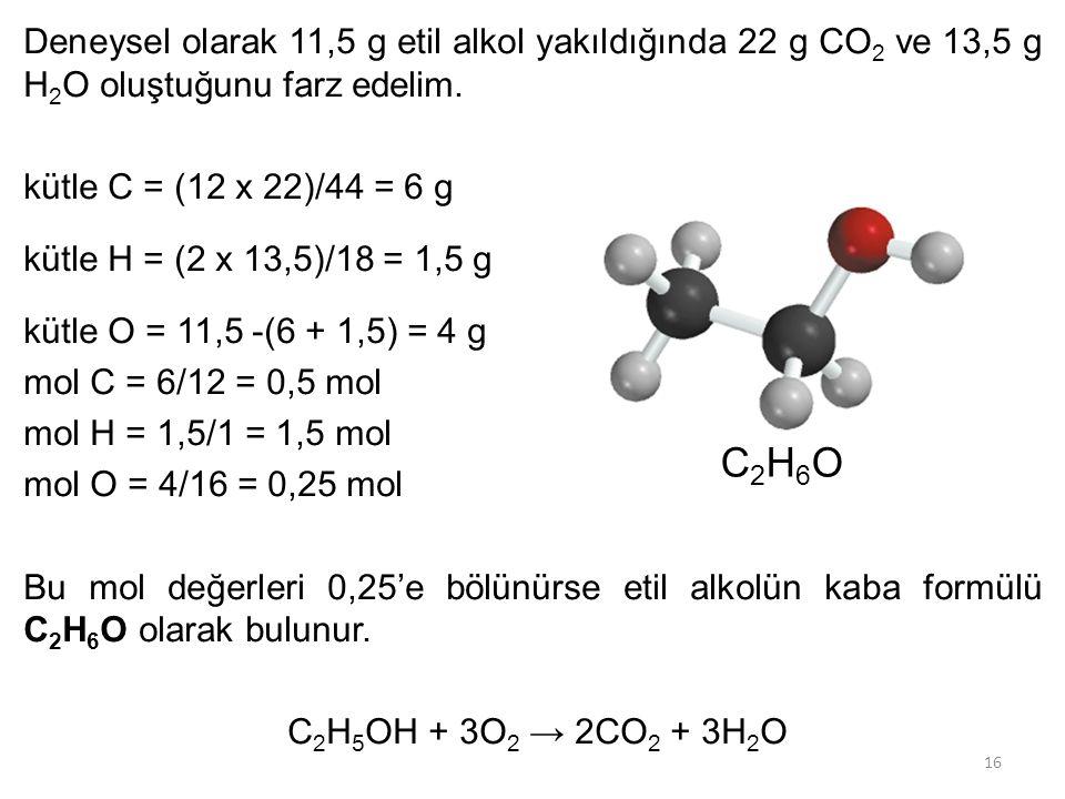 16 Deneysel olarak 11,5 g etil alkol yakıldığında 22 g CO 2 ve 13,5 g H 2 O oluştuğunu farz edelim. kütle C = (12 x 22)/44 = 6 g kütle H = (2 x 13,5)/