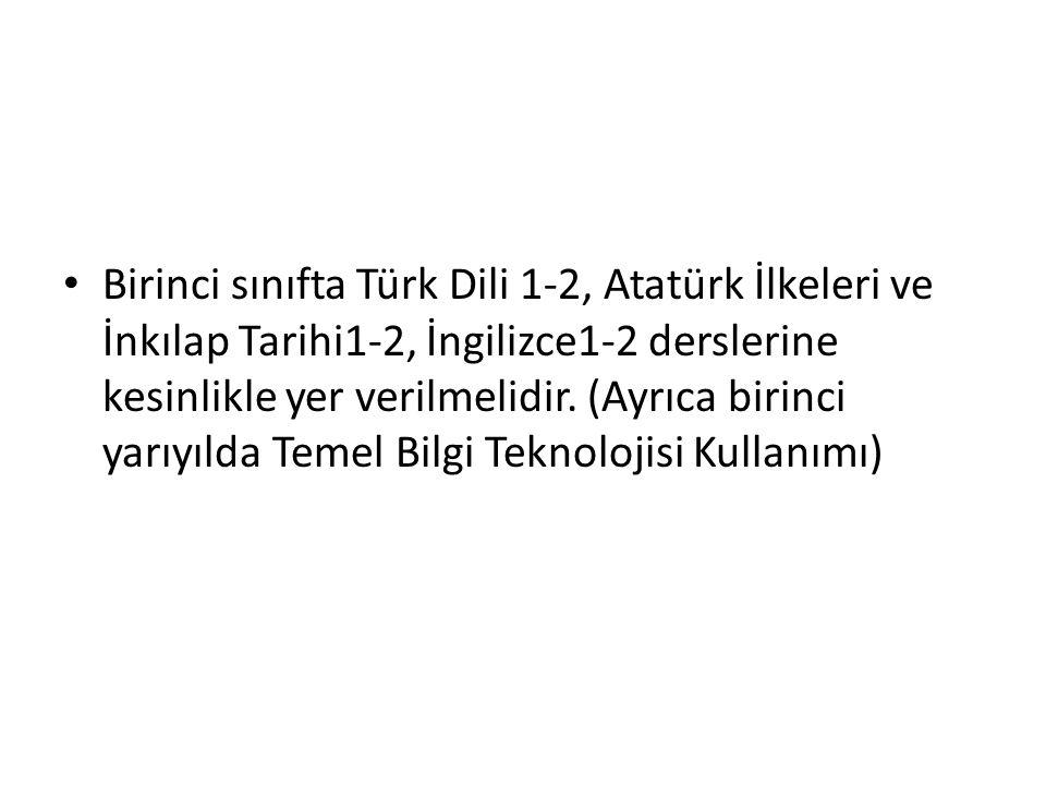 Birinci sınıfta Türk Dili 1-2, Atatürk İlkeleri ve İnkılap Tarihi1-2, İngilizce1-2 derslerine kesinlikle yer verilmelidir.